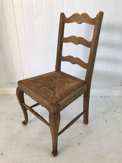 SOLD - Set of Ten Stripped Oak French Dining Chairs - ha192